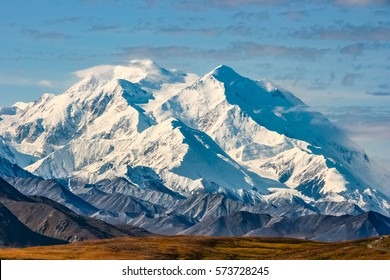 View of majestic Denali (Mount McKinley), highest mountain of North America,  Denali National Park, Alaska