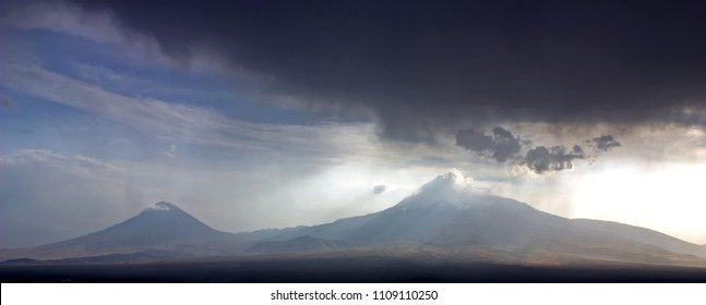 View of the majestic Mount Ararat from Yerevan, Armenia.Legendary resting place of Noah's ark.