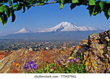 View of the majestic Mount Ararat from Yerevan,Transcaucasia, Armenia