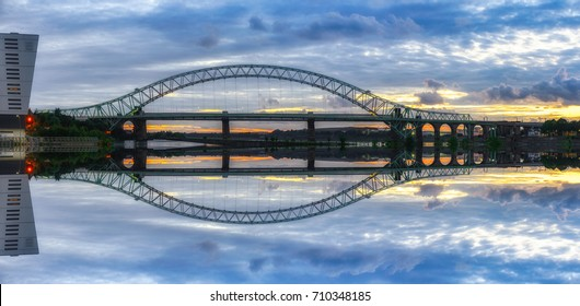 view of a major river crossing bridge The Mersey Gateway at Widnes, UK