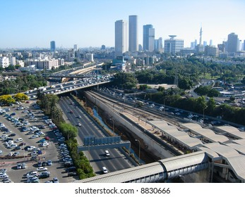 View of major roads and city centre skyline of Tel Aviv, Israel