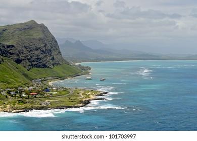 View from Makapuu Lookout, Oahu, Hawaii.