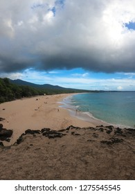 A view of Makena Beach (also known as Big Beach) on the Hawaiian island of Maui with a view of Turtle Town - an area known for its frequent sightings of green sea turtles.