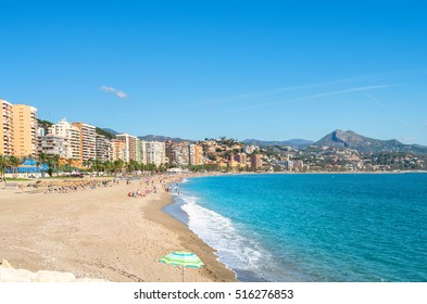 View of Malagueta beach in Malaga. Andalusia, Spain