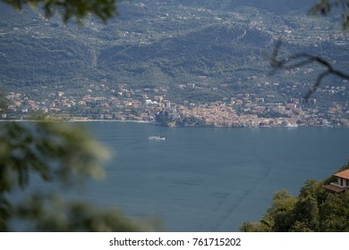 View to Malcesine at the Lake Garda in Italy from Tremosine