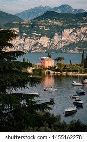 View of Malcesine on Lake Garda in Italy.