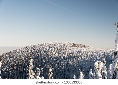 view to Malchor hill with frozen forest from hiking trail bellow Lysa hora hill in Moravskoslezske Beskydy mountains in Czech republic during freezing winter day with clear sky