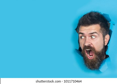 View of male face through hole in blue paper. Surprised bearded man making hole in paper. Cute attractive man looking through hole. Copy space for advertising, to insert text or slogan. Discount, sale
