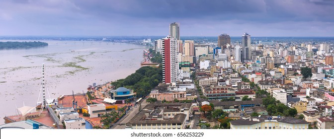 View of the Malecon and the Guayas River in Guayaquil, Ecuador