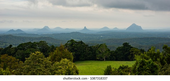 View of the Maleny mountains hinterlands, Sunshine Coast in the late afternoon.