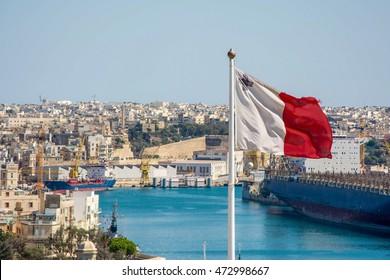 View of a Maltese flag waving.