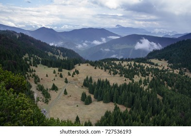 View from Maly Rozsutec peak over the Mala Fatra NP hills with meadows and forests