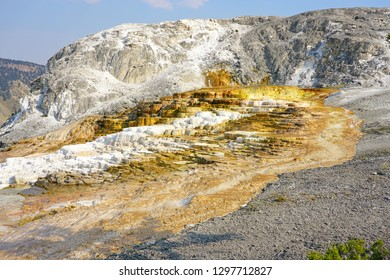 View of Mammoth Hot Springs with the Minerva Terrace and Mound Spring in Yellowstone National Park, Wyoming