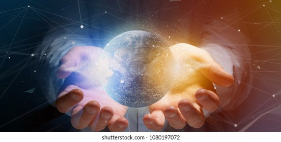 View of a Man holding a 3d rendering particles earth globe