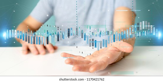 View of a Man holding a Business stock exchange trading data information