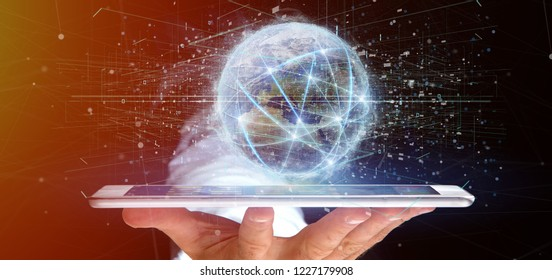 View of a Man holding Connection around a world globe isolated 3d rendering