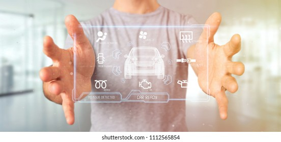 View of a Man holding a Dashboard smartcar interface dashboard 3d rendering