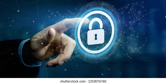 View of a Man holding a padlock web security concept 3d rendering