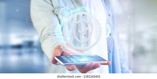 View of a Man holding a Shield web security concept 3d rendering
