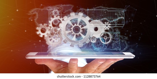 View of a Man holding a technology gear wheel interface3d rendering