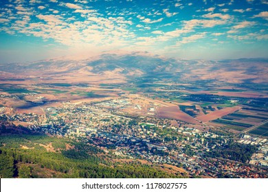 View from Manara cliff of Kiryat Shmona city and Hermon mount. Israel