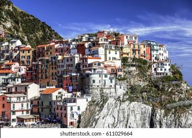 View of Manarola on a Sunny day, Italy