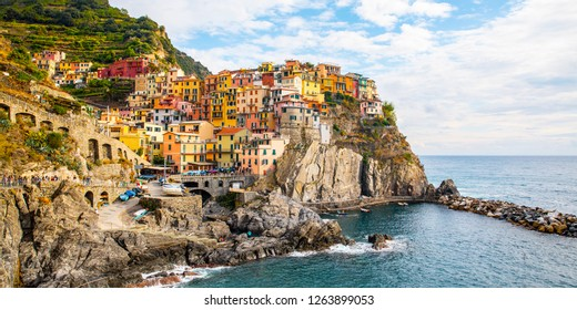 View of Manarola is a small town in the province of La Spezia, Liguria, Italy
