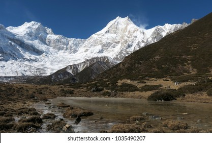 View at the Manaslu mountain peak from the valley