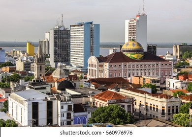 View of Manaus with Teatro Amazonas, Brazil