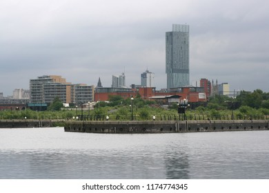 View of Manchester skyline from Salford Quays.