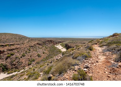 View from the Mandu Mandu Gorge at Cape Range National Park towards the Indian Ocean in Australia