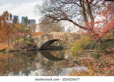 A view of Manhattan and a bridge from Central Park