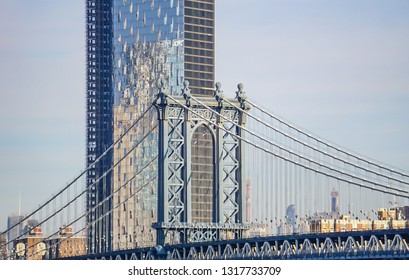 A view of Manhattan Bridge and the cityscape from the Brooklyn Bridge in New York City, New York, USA