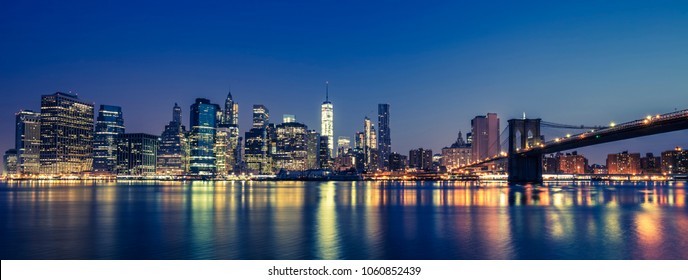 View of Manhattan by night, NYC.