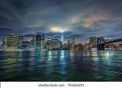 View of Manhattan with clouds, NYC.