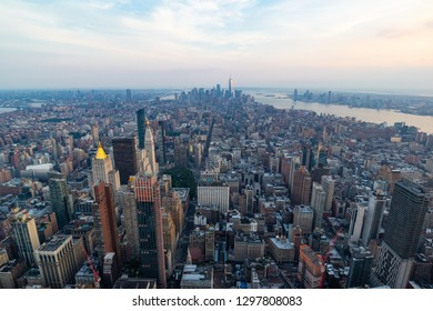 A view of Manhattan during the sunset - New York