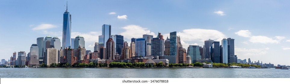 View of Manhattan from the Hudson River. New York City, USA.