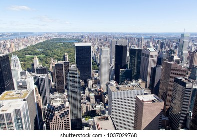 The view of Manhattan island Midtown skyscrapers and Central Park (New York City).