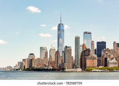 View of Manhattan island skyscrapers from the sea side