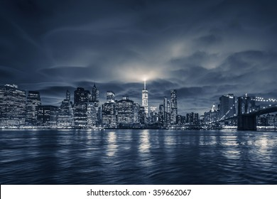 View of Manhattan at night, New York City.
