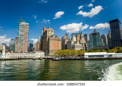 View of Manhattan from the side of the bay. New York, USA