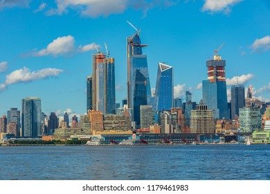 View to Manhattan skyline from New Jersey City at sunset, USA
