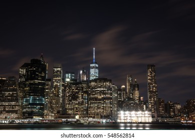 View of Manhattan skyline at night, NYC