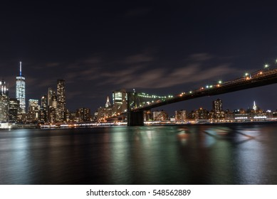 View of Manhattan skyline at night, NYC