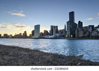 View of the Manhattan Skyline from Roosevelt Island