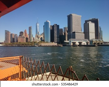 view of Manhattan from the Staten island ferry