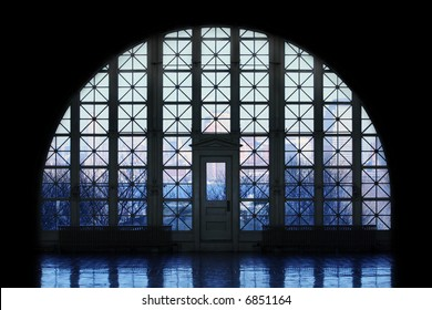 View of Manhattan through windows at Ellis Island.