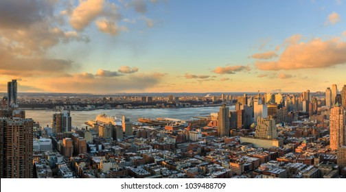 View to Manhatten skyline at sunset, New York, USA