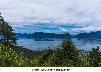 the view of Maninjau lake from Puncak Lawang, in Agam district, West Sumatera, Indonesia