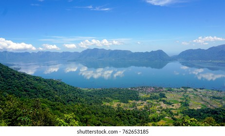The view of Maninjau Lake, taken from Puncak Lawang Hill, Agam Disctrict, West Sumatera, Indonesia